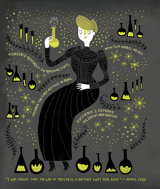 Marie Curie by Rachel Ignotofsky from Women in Science, one of the best science books of 2016.