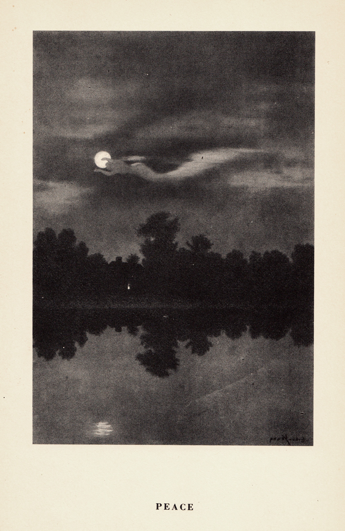 Art Young illustration called Peace, black and white trees reflected in a lake with clouds flowing across a full moon