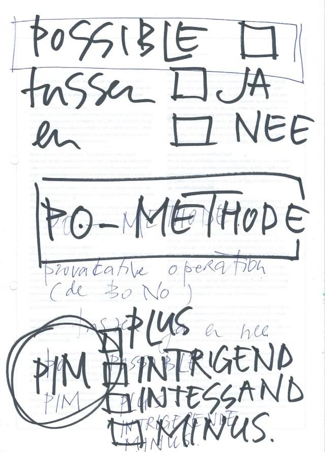 PO, PO methode, possible, mogelijk, brainstorm methode, plus, minus, PIM, interessting, interessant, intrigerend, interactie, tussenin, classificatie, brainstorm, techniek, oplossing, probleem