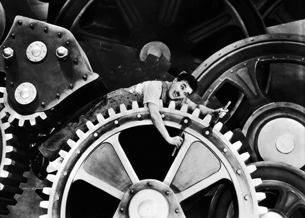 """""""Work became more mechanical, and workers became disposable, like cogs in a machine."""" Charlie Chaplin in Modern Times (1936)."""