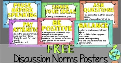 Learn how to establish discussion norms in your social studies and history classroom. Free poster set for a bulletin board. #brainyapples #socialstudies #history #middleschool #highschool