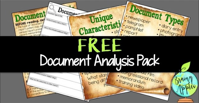 Free primary source analysis pack to help students analyze different primary sources. Perfect for your middle and high school history and social studies classes. #brainyapples #politicalcartoon #primarysource #socialstudies #history #middleschool #highschool