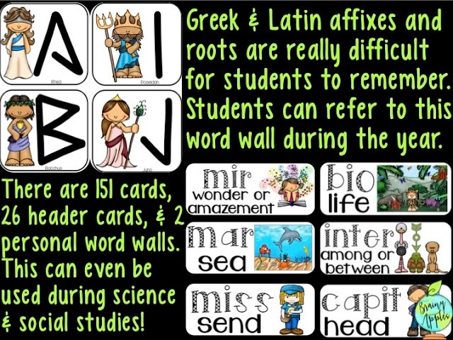 Ideas for ELA word wall for middle school, high school, and homeschoolers. Use vocabulary cards to display Greek and Latin roots and affixes with a visual and written definition. You can even make a bulletin board with the word wall cards! Perfect for English, reading, and science classes. #brainyapples #wordwall #vocabularycards #vocabularywall #ela #science #reading #middleschool #highschool #prefixes #affixes #rootwords