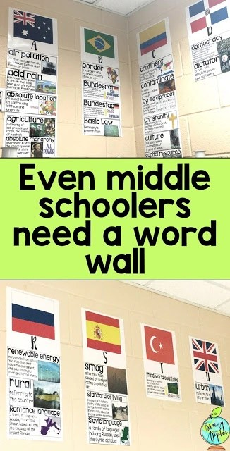 Ideas for social studies word wall for middle school, high school, and homeschoolers. Use vocabulary cards to display key terms with a visual and written definition. You can even make a bulletin board with the word wall cards! Perfect for history classes. #brainyapples #wordwall #vocabularycards #vocabularywall #socialstudies #history #middleschool #highschool