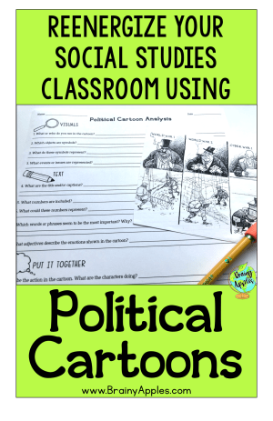 Free history political cartoon activity for the middle school and high social studies classroom and homeschoolers. This social studies political cartoon analysis will help students better understand the message in political cartoons. This blog post includes why analyzing political cartoons are beneficial, tips on how to help your students analyze political cartoons, and how to use political cartoons in the secondary classroom and and homeschooling.   #brainyapples #politicalcartoon #primarysource #socialstudies #history #middleschool #highschool