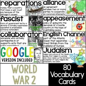 World War 2 Vocabulary Word Wall Pack