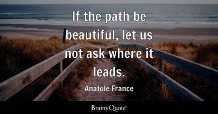 Path Quotes   BrainyQuote If the path be beautiful  let us not ask where it leads    Anatole