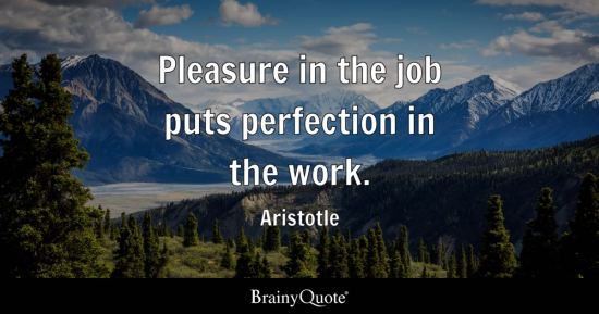 Pleasure in the job puts perfection in the work.