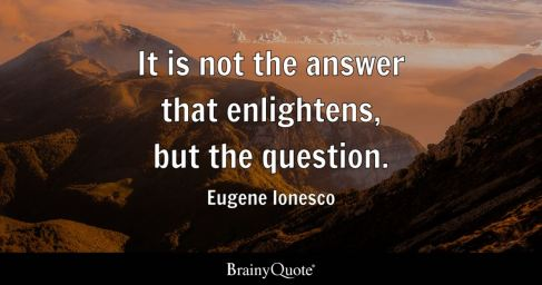 """Image result for """"It is not the answer that enlightens, but the question."""" – Eugene Ionesco"""