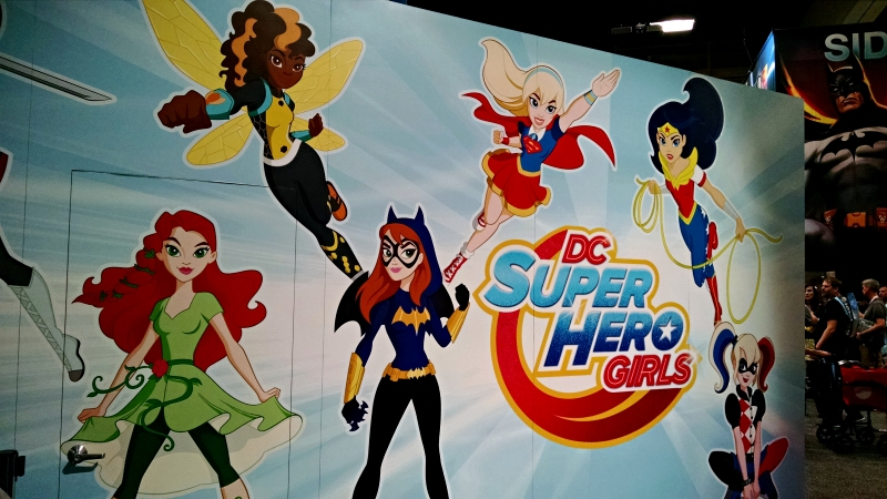 [image: giant wall art of dc super hero girls, featuring  poison ivy, bumblebee, batgirl, supergirl, wonder woman, and harley quinn—there was a guy standing in front of katana, so I couldn't get her]