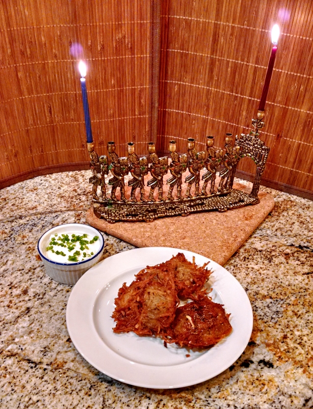 [image: menorah and latkes]