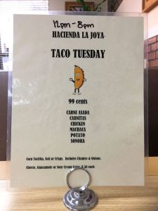 Hacienda la Joya Mission Viejo Taco Tuesday Speicals