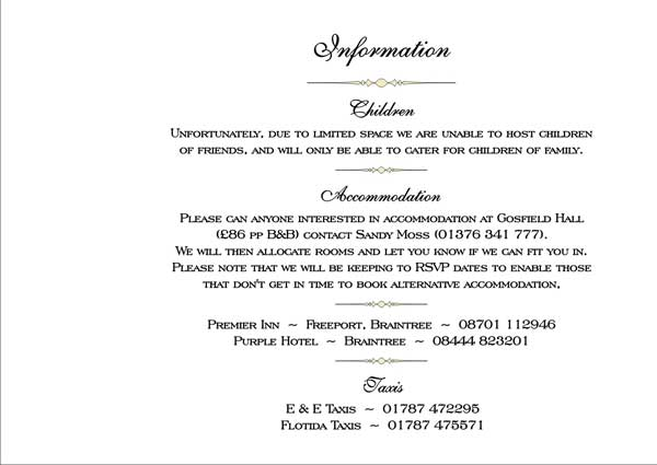 What Information To Put On A Wedding Invitation: Wedding Invitation Information Card Examples