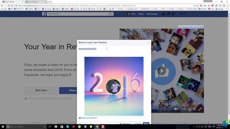فيديو حصاد عامك 2016 على فيسبوك
