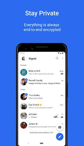 الخصوصية في تطبيق سيغنال