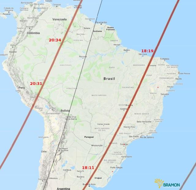 Passagens do SL-6 RB sobre o Brasil