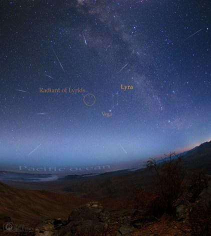 Meteoros daLíridas no Deserto do Atacama, Chile - Créditos: Yuri Beletsky