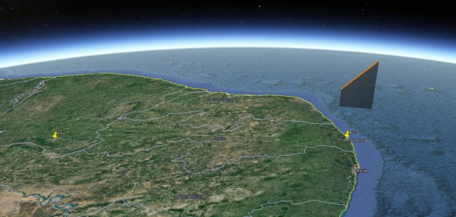 Trajetória do meteoro pela atmosfera - Créditos: BRAMON