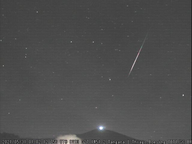 Meteoro registrado em Tangará, SC - Créditos: Thiago Boesing / BRAMON