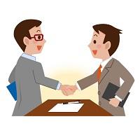 握手しているビジネスマンのイラスト