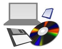 パソコンと記憶デバイスのイラスト