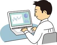 e-learningをしている人のイラスト