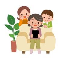 家族でゲームをしているイラスト
