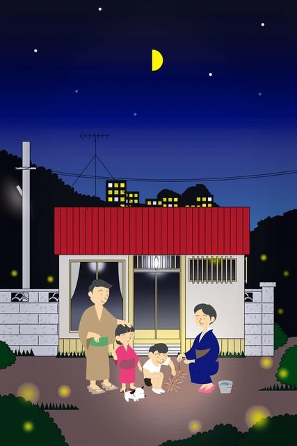 夏休みの夜のイラスト