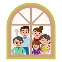 家族で家にいるイラスト