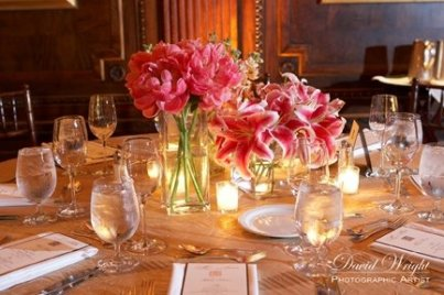 coral peonies and stargazer lilly centerpiece Hermitage Hotel Nashville