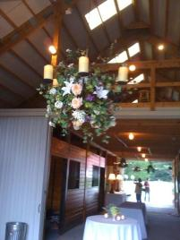 country barn wedding reception chandelier