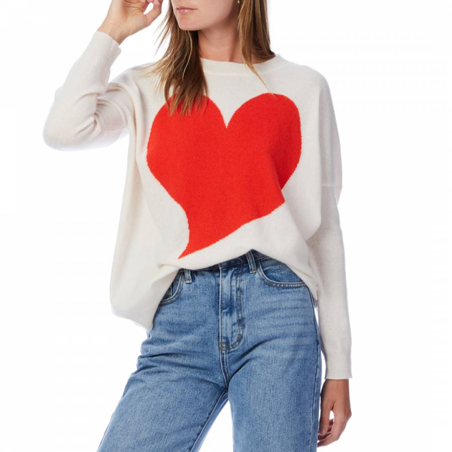Scott & Scott London White/Red Quirky Heart Cashmere Jumper cashmere gifts