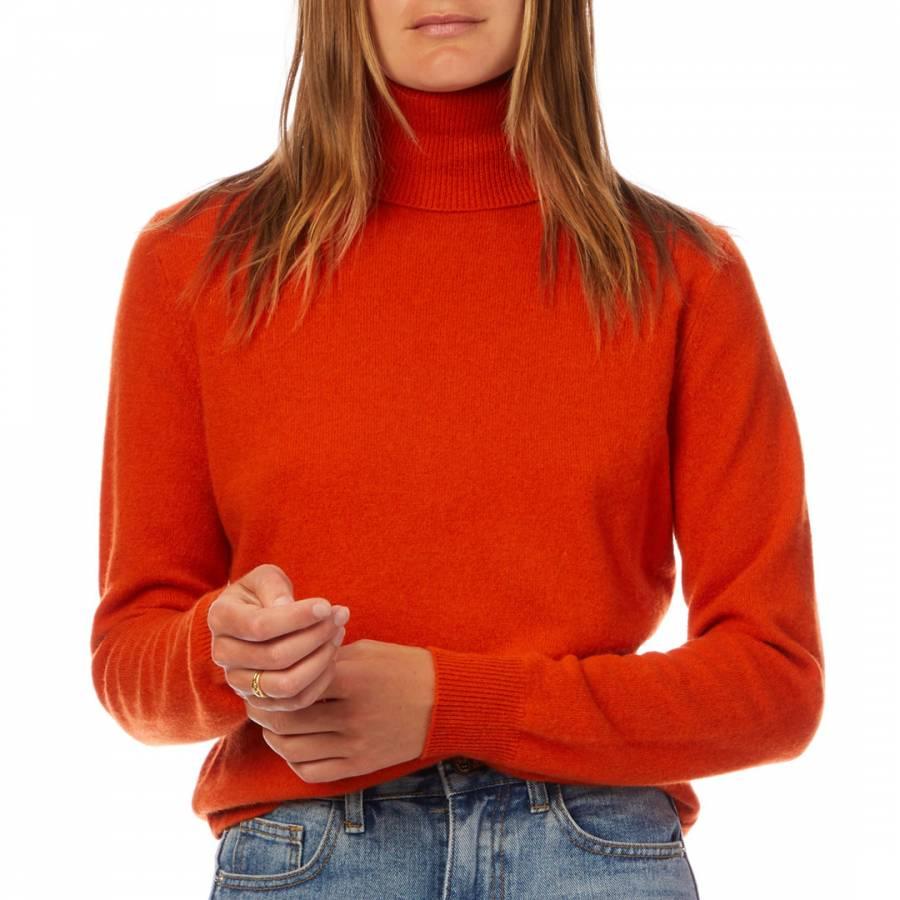 cashmere gifts Orange Cashmere Polo Neck Jumper