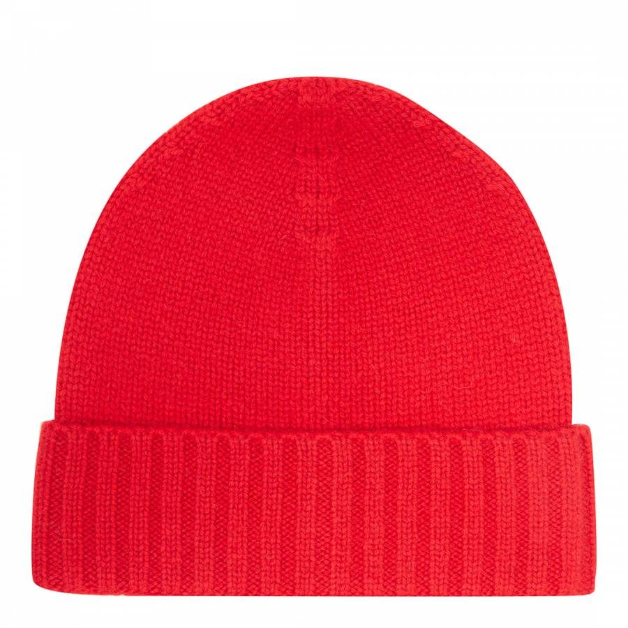 Red Cashmere Ribbed Hat Cashmere gifts