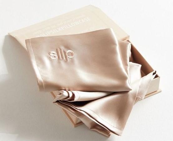 slip silk pillowcase in champagne