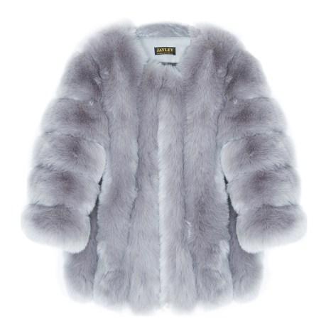 Grey Luxury Faux Fur Silk Blend Coat Jayley Collection