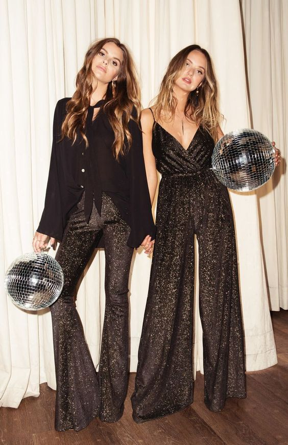 Sequin dress and sequin jumpsuit party outfits