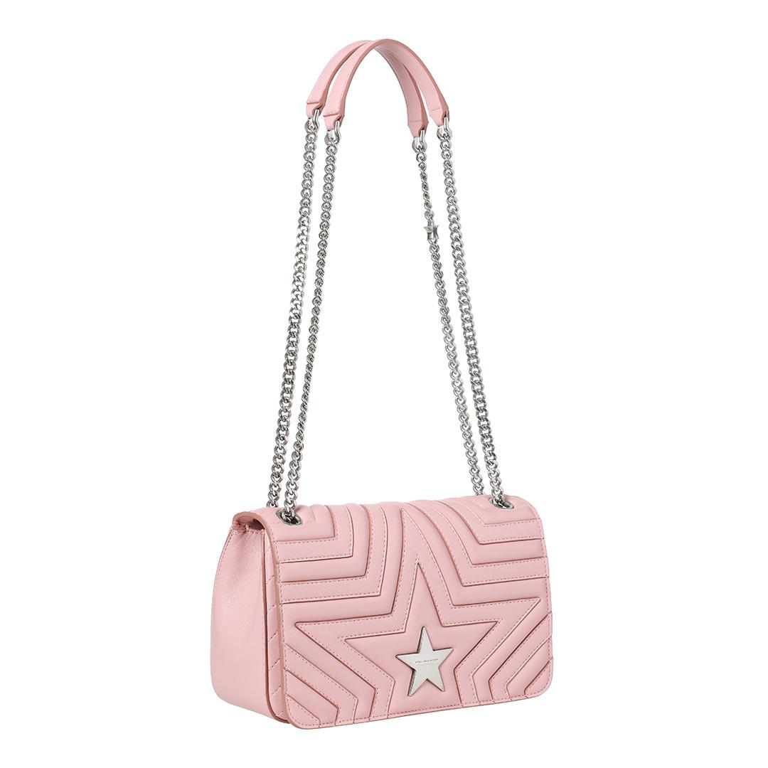 STELLA MCCARTNEY Pink Star Medium Quilted Shoulder Bag