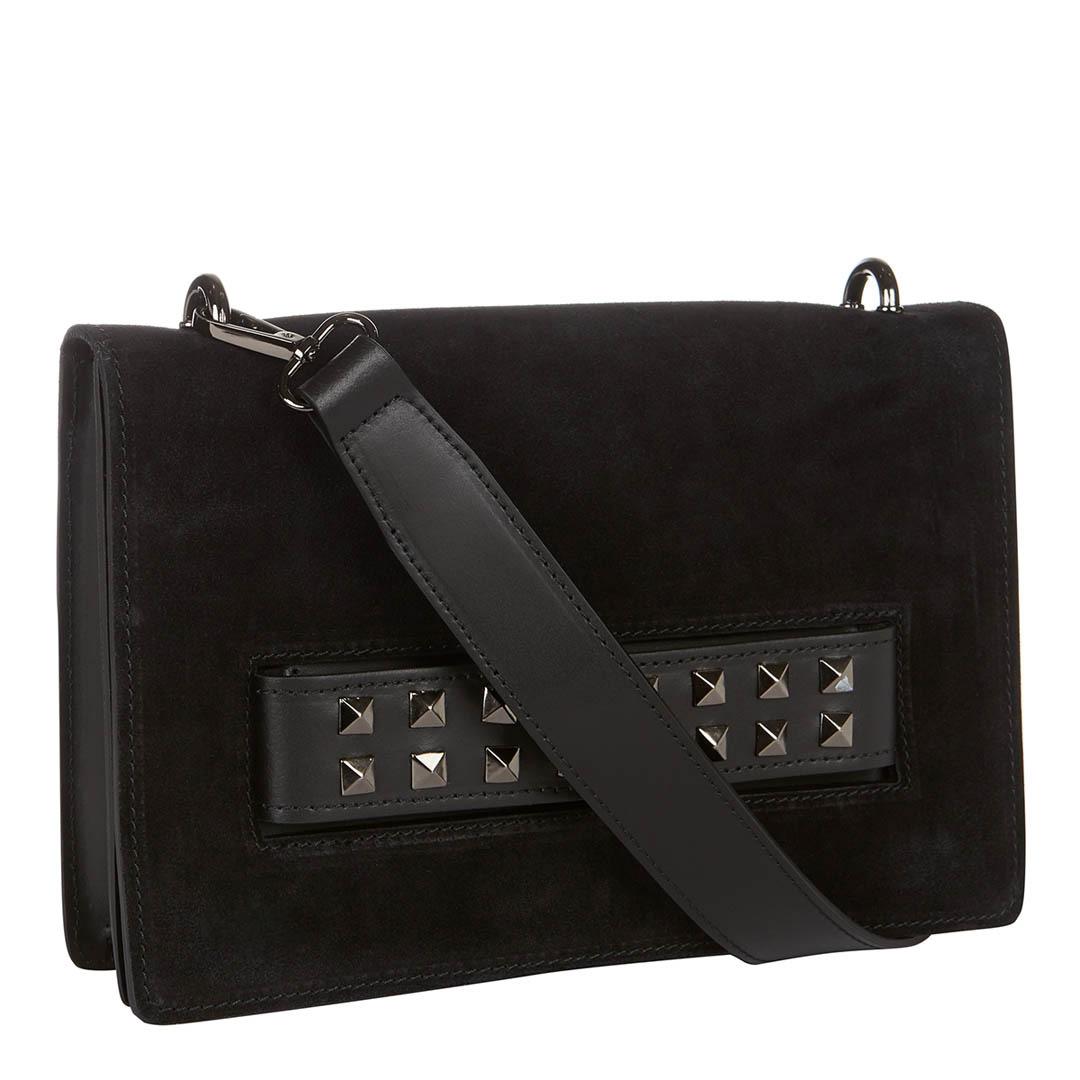 GIORGIO COSTA Black Stud Detail Clutch / Shoulder Bag