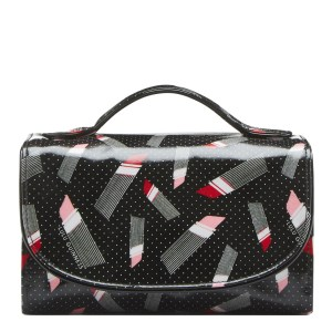 LULU GUINNESS Black Lipstick Print Roll Washbag