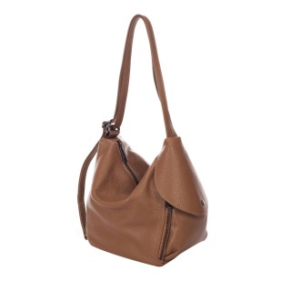 Guilia Massari Cognac Leather Shoulder Bag
