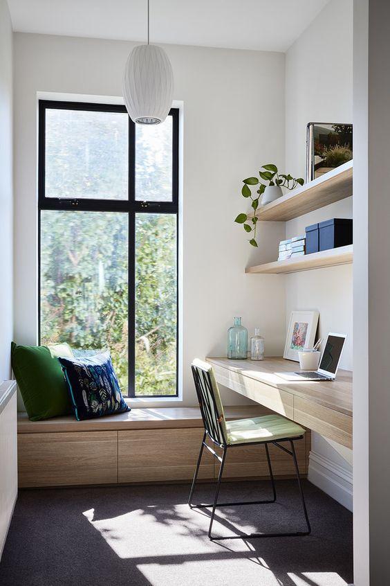 working from home desk near windows, natural light
