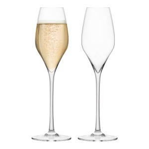SUMMER BARWARE Set of 2 Crystal Champagne Glasses, 340ml