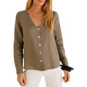 MANGO Khaki Button Linen-Blend Blouse