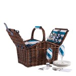 NAVIGATE 4 Person Aqua Wicker Picnic Basket