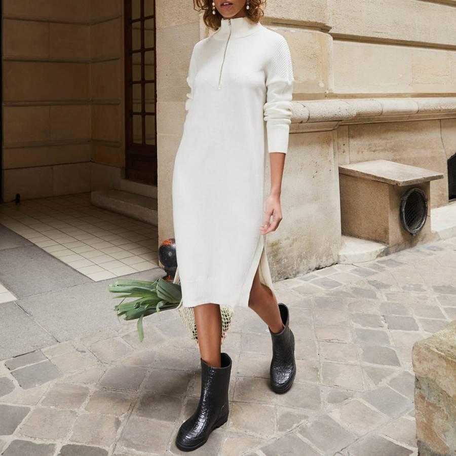 Smart Knitwear Rodier Ecru Half Zip Wool Dress - £55