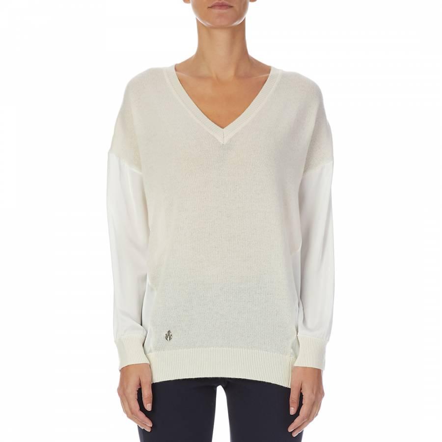 smart knitwear Amanda Wakeley Ecru V- Neck Cashmere Blend Jumper - £119