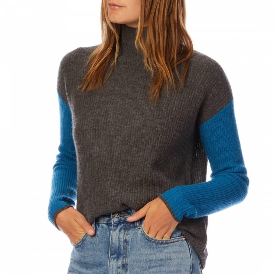 smart knitwear Scott & Scott London Grey/Blue Funnel Neck Cashmere Jumper