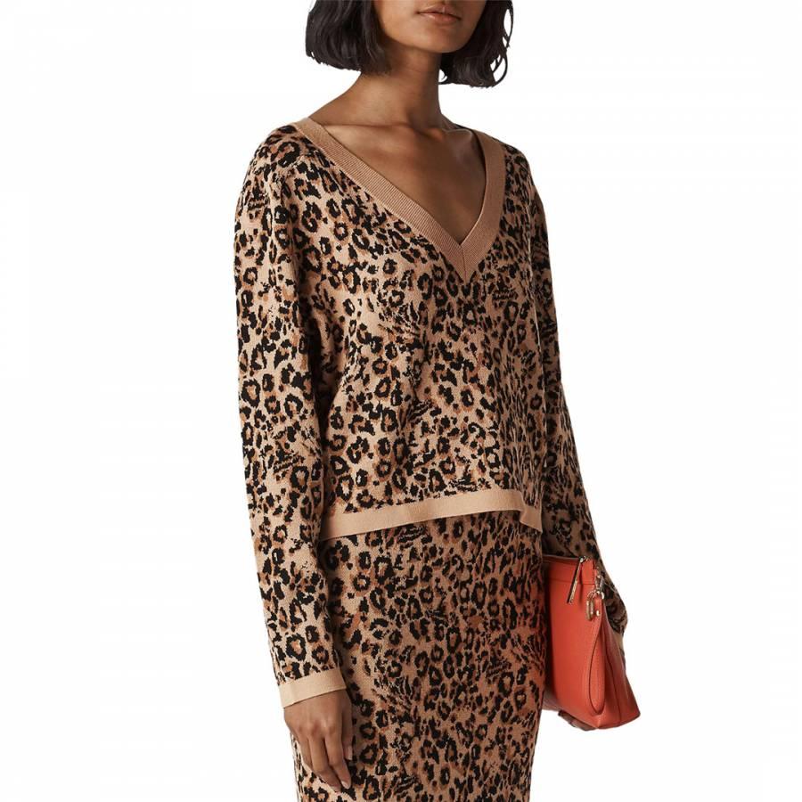 smart knitwear Whistles Multi Jungle Cat Jacquard Jumper - £49