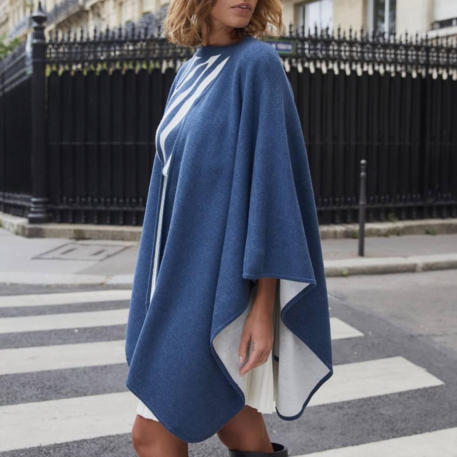 smart knitwear Rodier Blue Double Sided Wool Blend Cape - £69